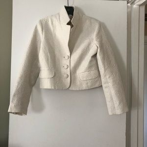 🆕 OLD NAVY CROPPED BLAZER IN WHITE-GOLD
